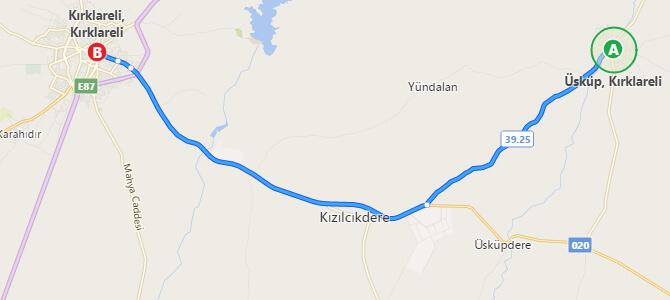 Kırklareli - Üsküp Arası Kaç Km